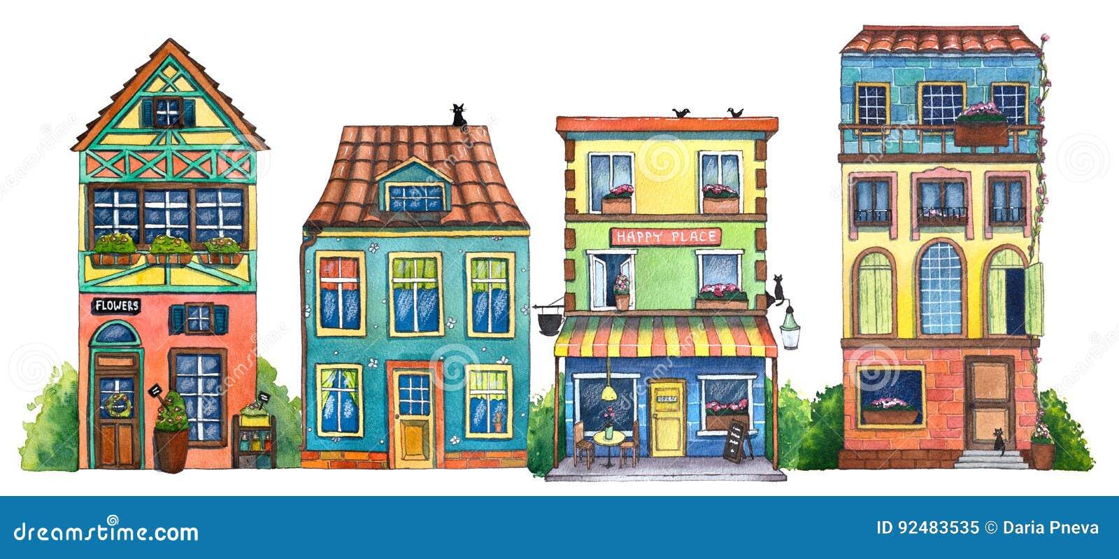 Waterverfstraat met koffie, huizen, bloemenwinkel, en katten