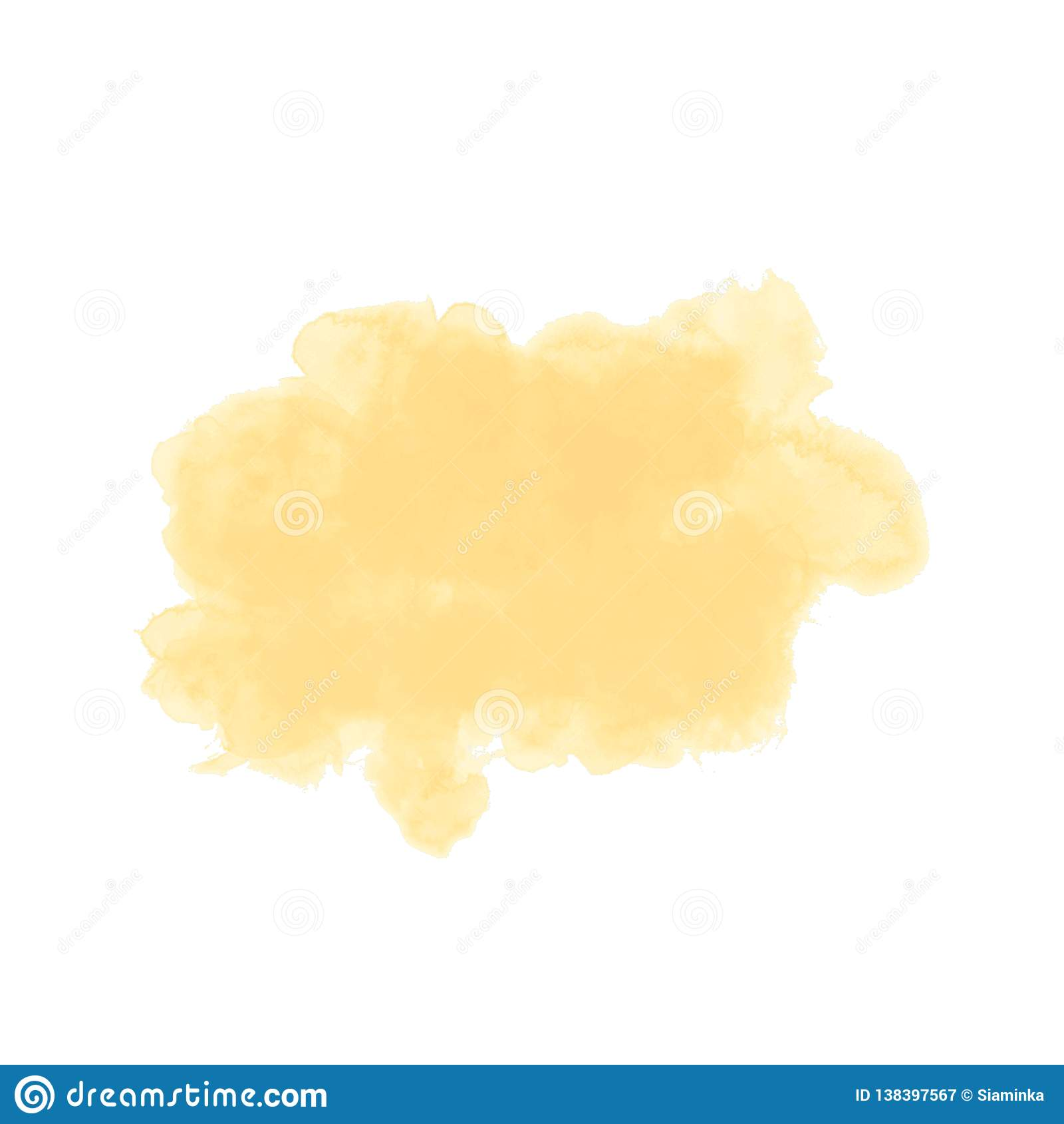 Waterverfvlek, semi-transparent gekleurde achtergrond geel
