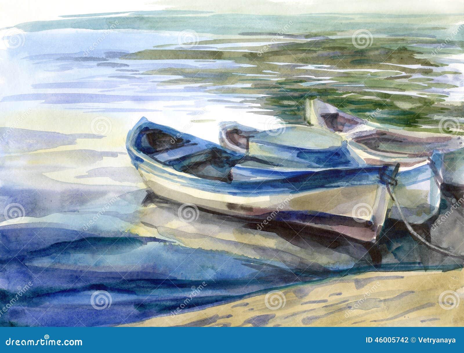 Waterverfzeegezicht met boten