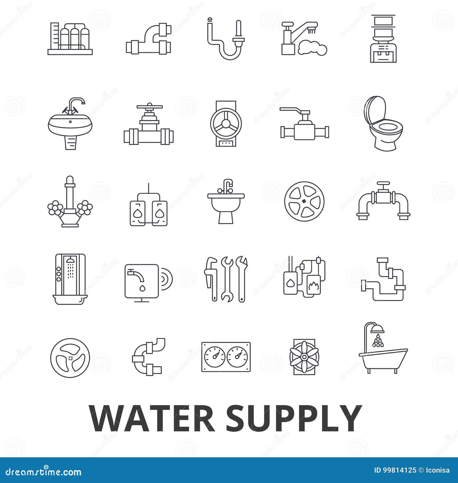 Watervoorziening, pijp, drainage, hvac, pomp, irrigatie, de pictogrammen van de reservoirlijn Editableslagen Vlakke ontwerpvector