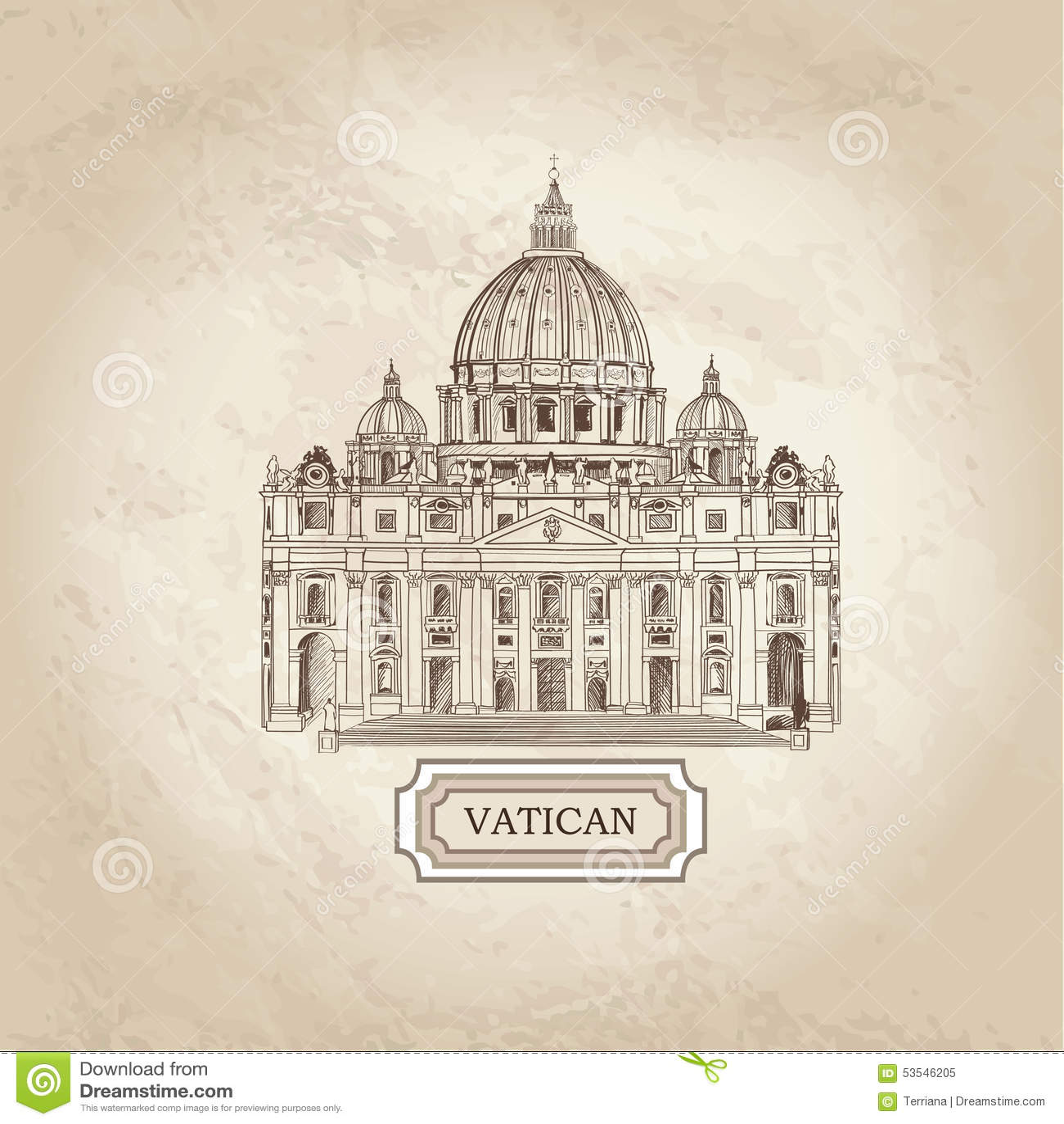 Watykański stary papier textured architektoniczny tło St Peter