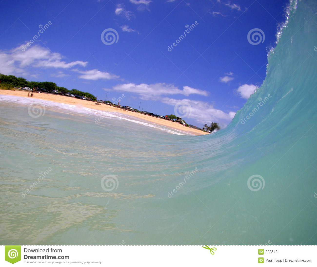 Wave of Blue Water Moves Towards the Beach