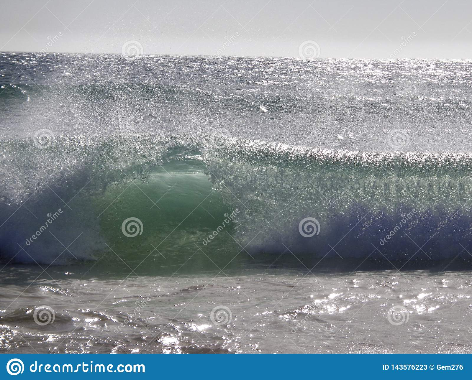 Wave breaking on the beach