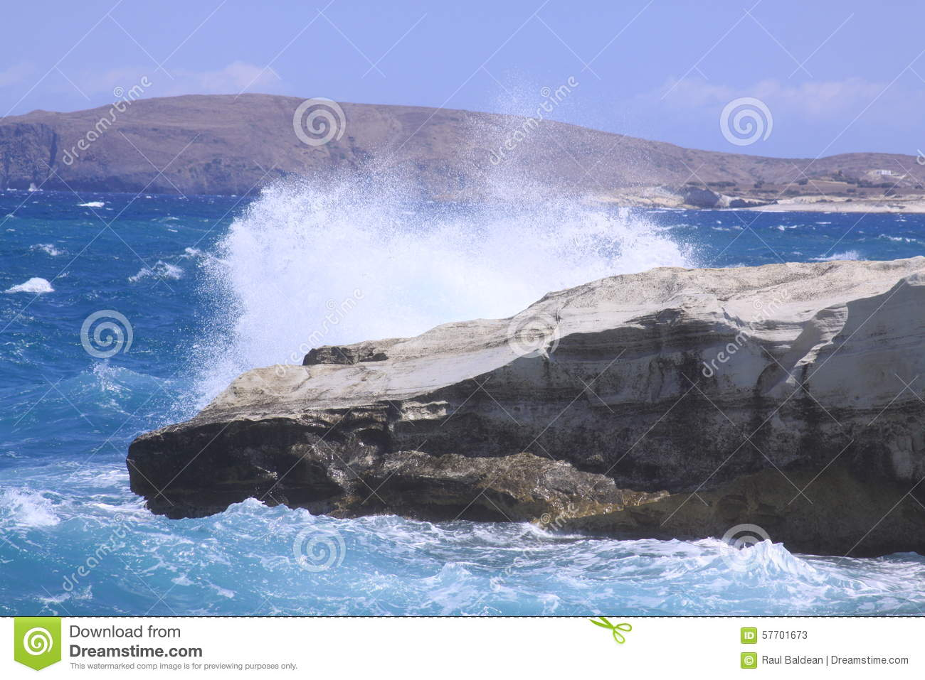 Wave breaking at Sarakiniko beach on Milos island