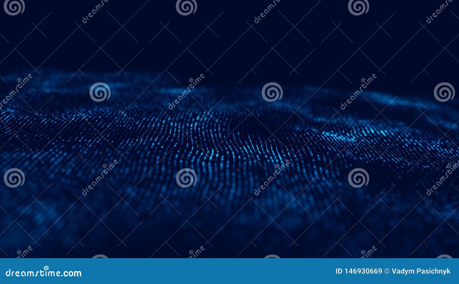 Wave 3d Wave delle particelle Fondo geometrico blu astratto Grande visualizzazione di dati Estratto di tecnologia di dati futuris
