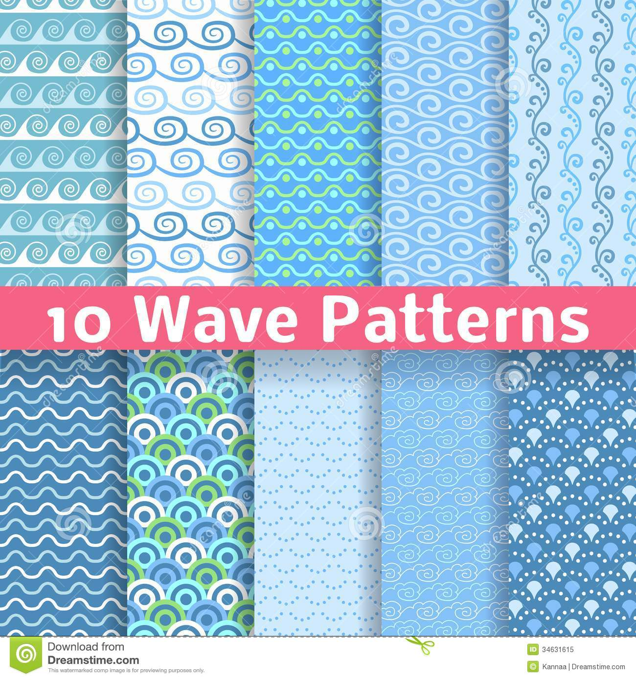 Wave Different Seamless Patterns Tiling Vector Royalty