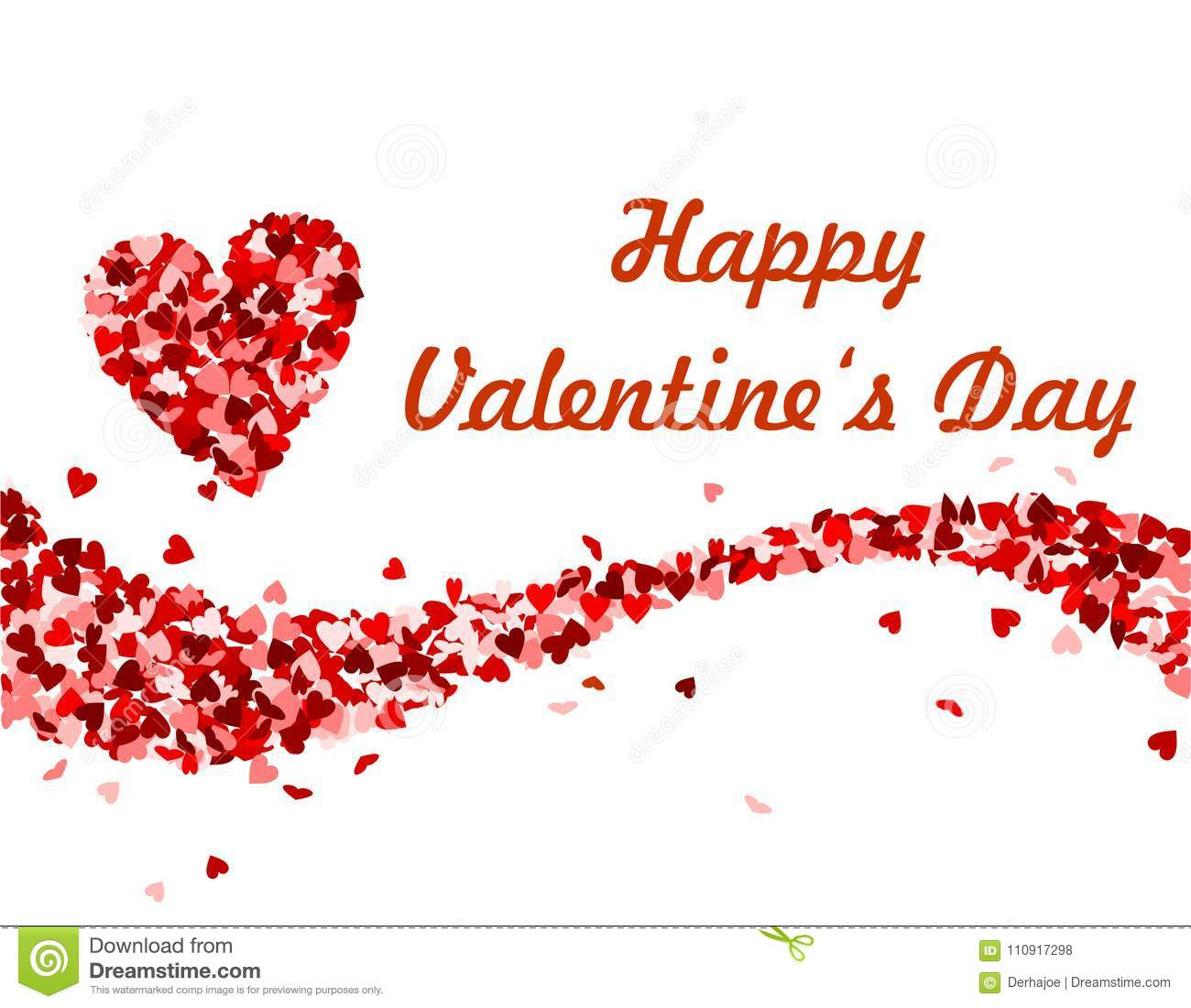 Wave Made Of Red Hearts Valentine S Day Stock Vector