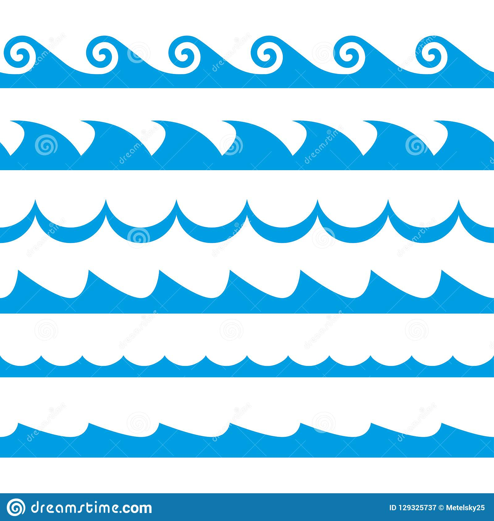 wave set  waves seamless pattern  decoration template of