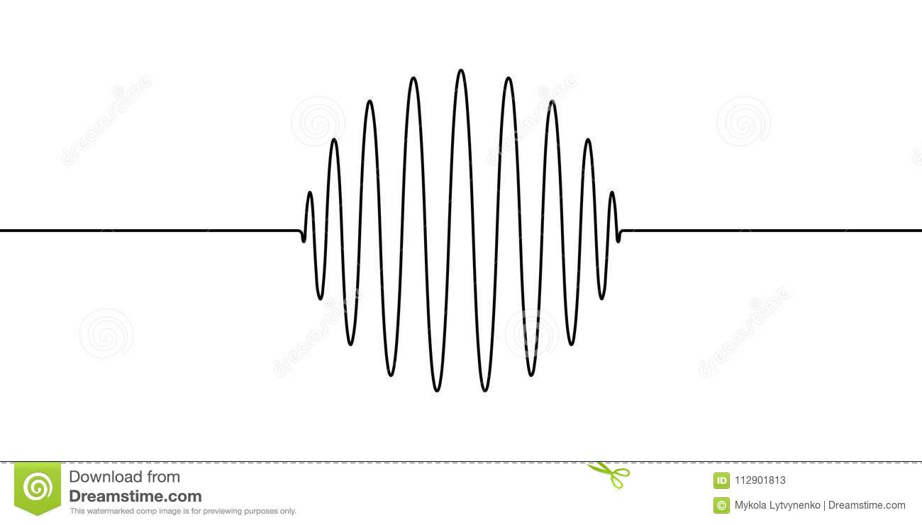 Drawing Lines Sound Effect : Wave forms of the amplitude round ring sphere vector to