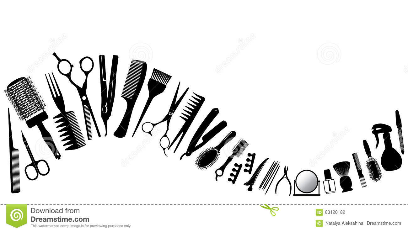 Wave From Silhouettes Of Tools For The Hairdresser Stock