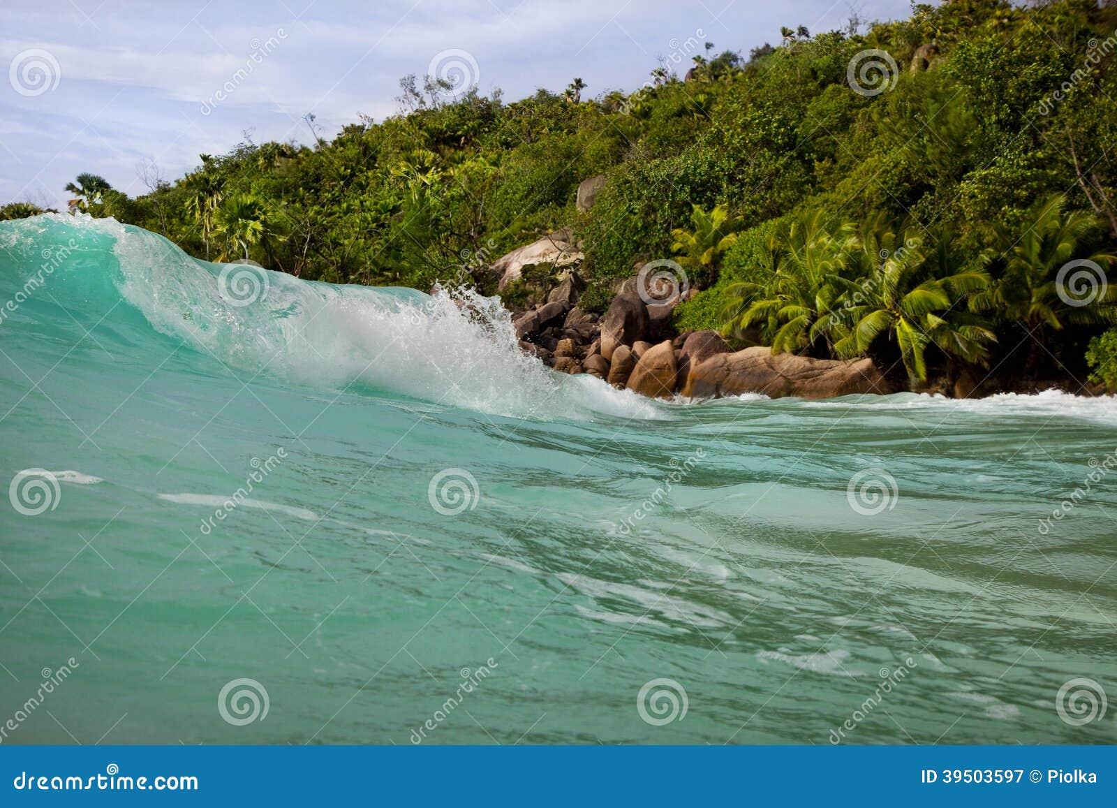 Waves at Anse Lazio Seychelles