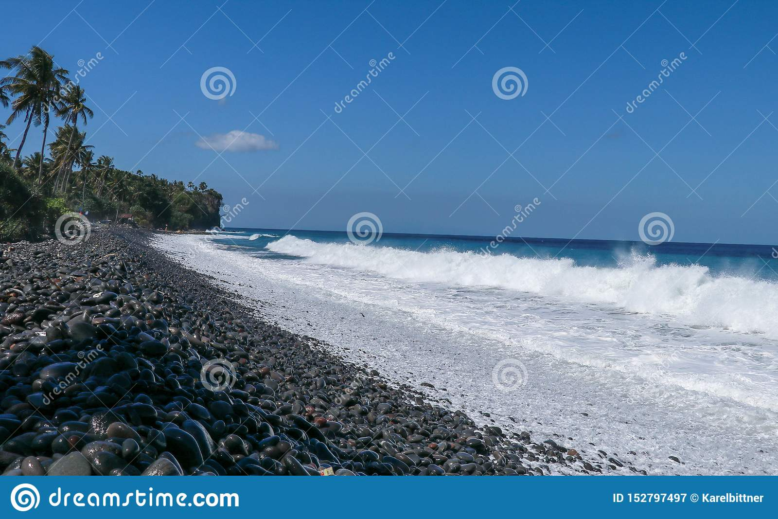 Waves attack the stony beach, and sea water spills over the beach`s edge. Palm trees and tropical vegetation line the coast of the