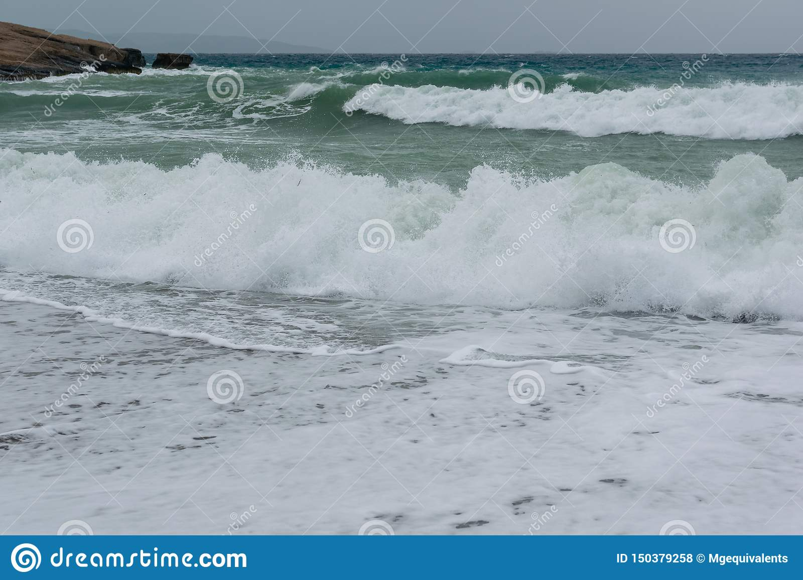 Waves in a bay of the Aegean Sea in Rhodes