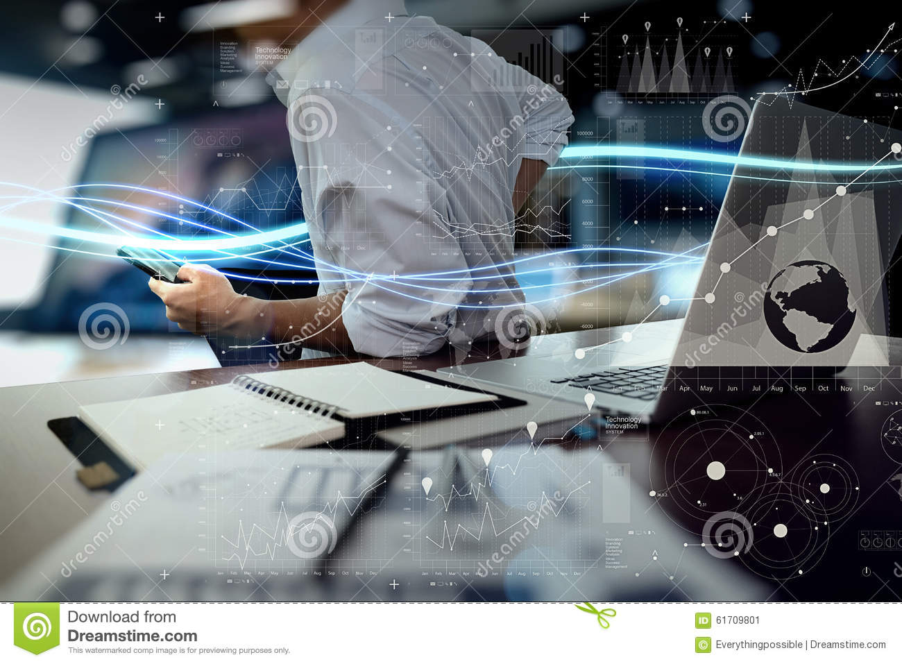 Waves of blue light and businessman using on laptop