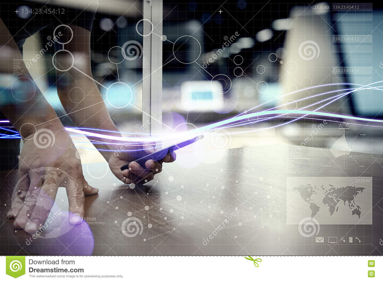 Waves of blue light and businessman using on smartphone as concept