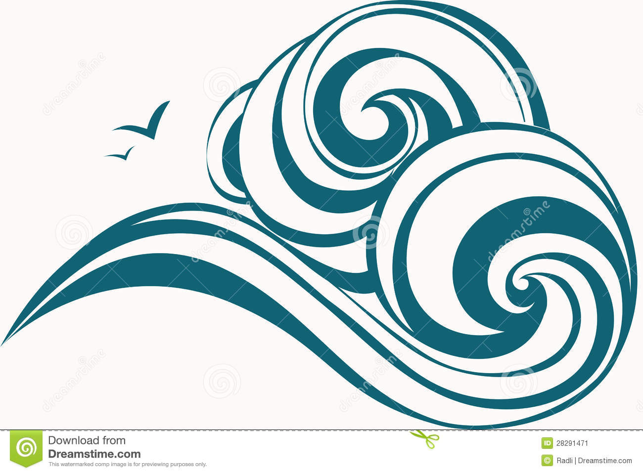 Abstract decorative waves. Vector illustration.