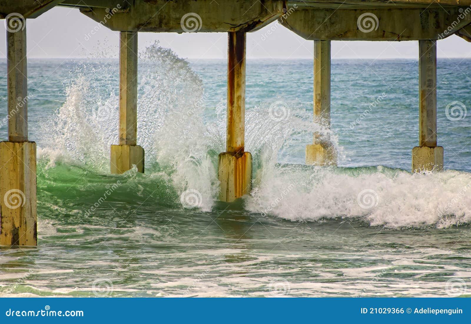 Waves Hitting Pier, San Diego California