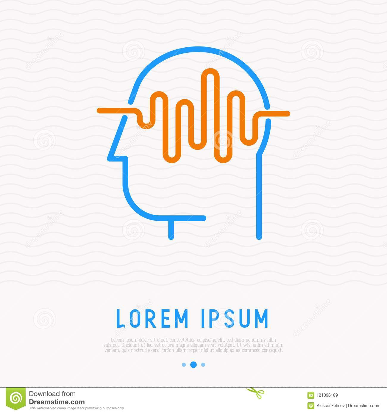 Waves in human head thin line icon