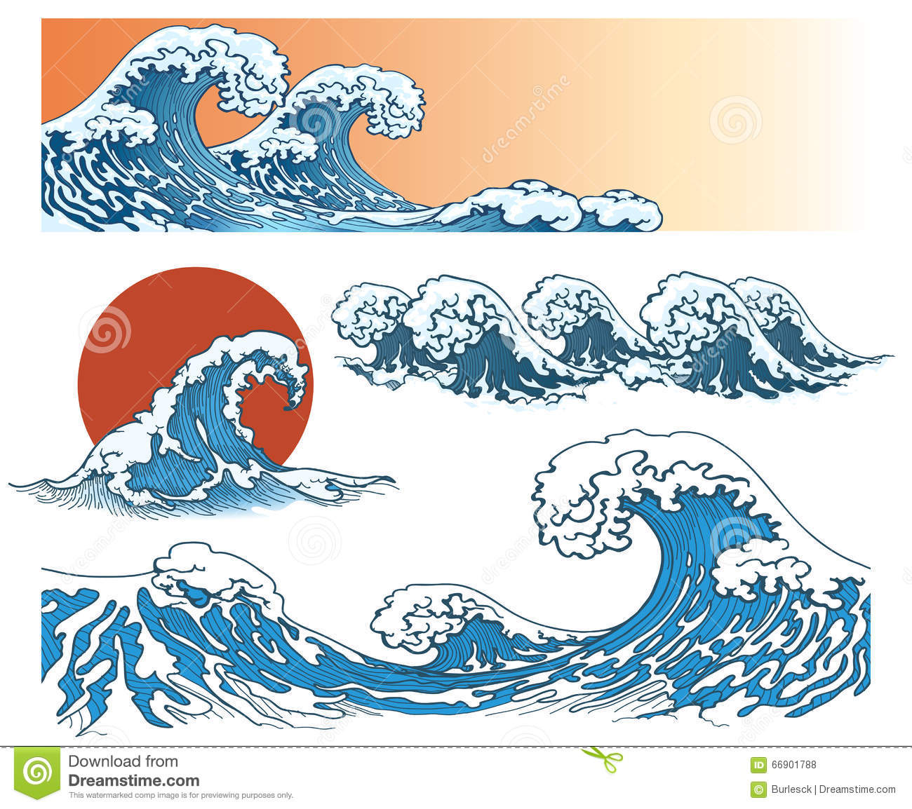 Japanese Style Waves Stock Vector Image
