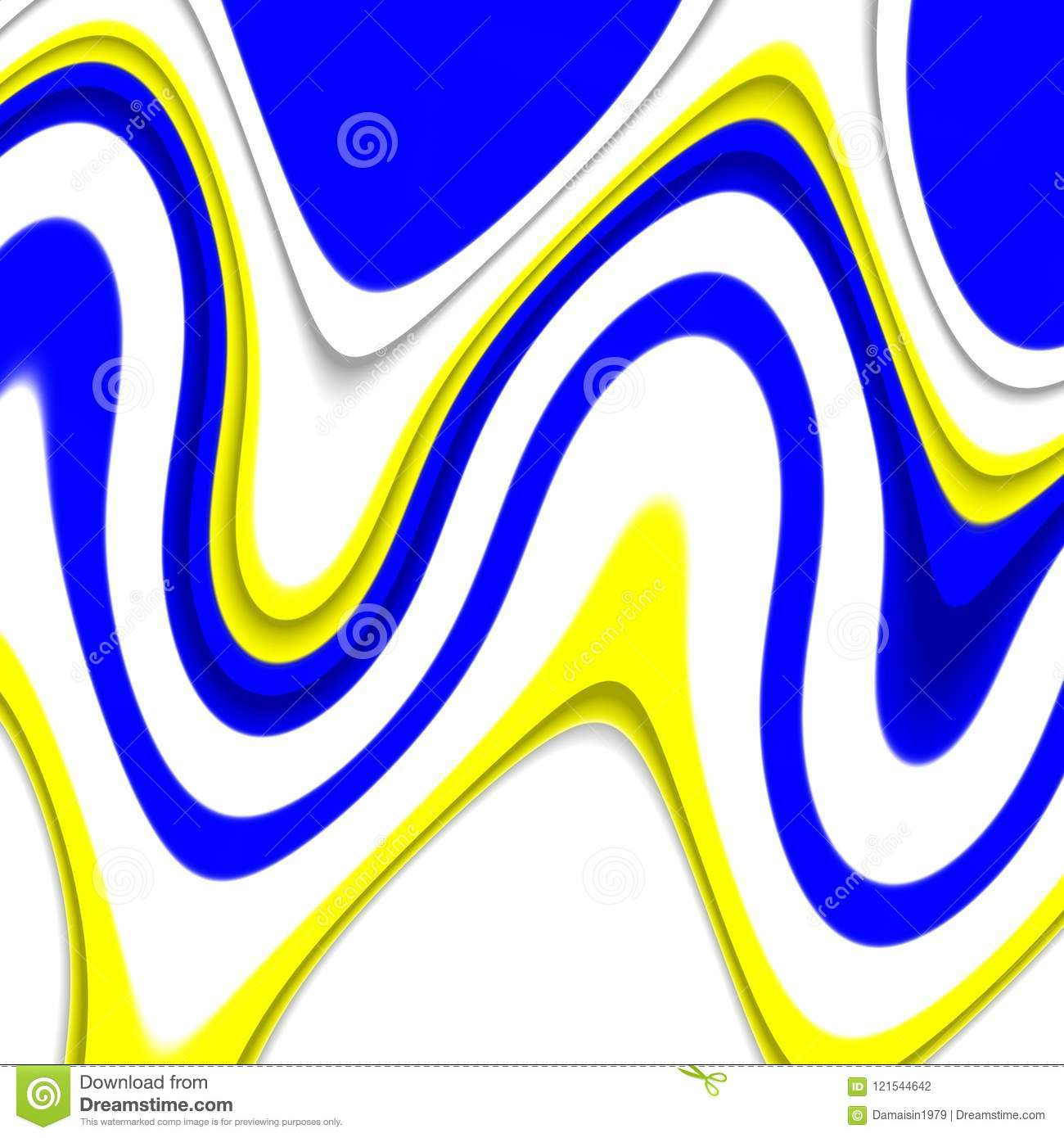 Waves Lines Blue Yellow White Background Forms And Fluid