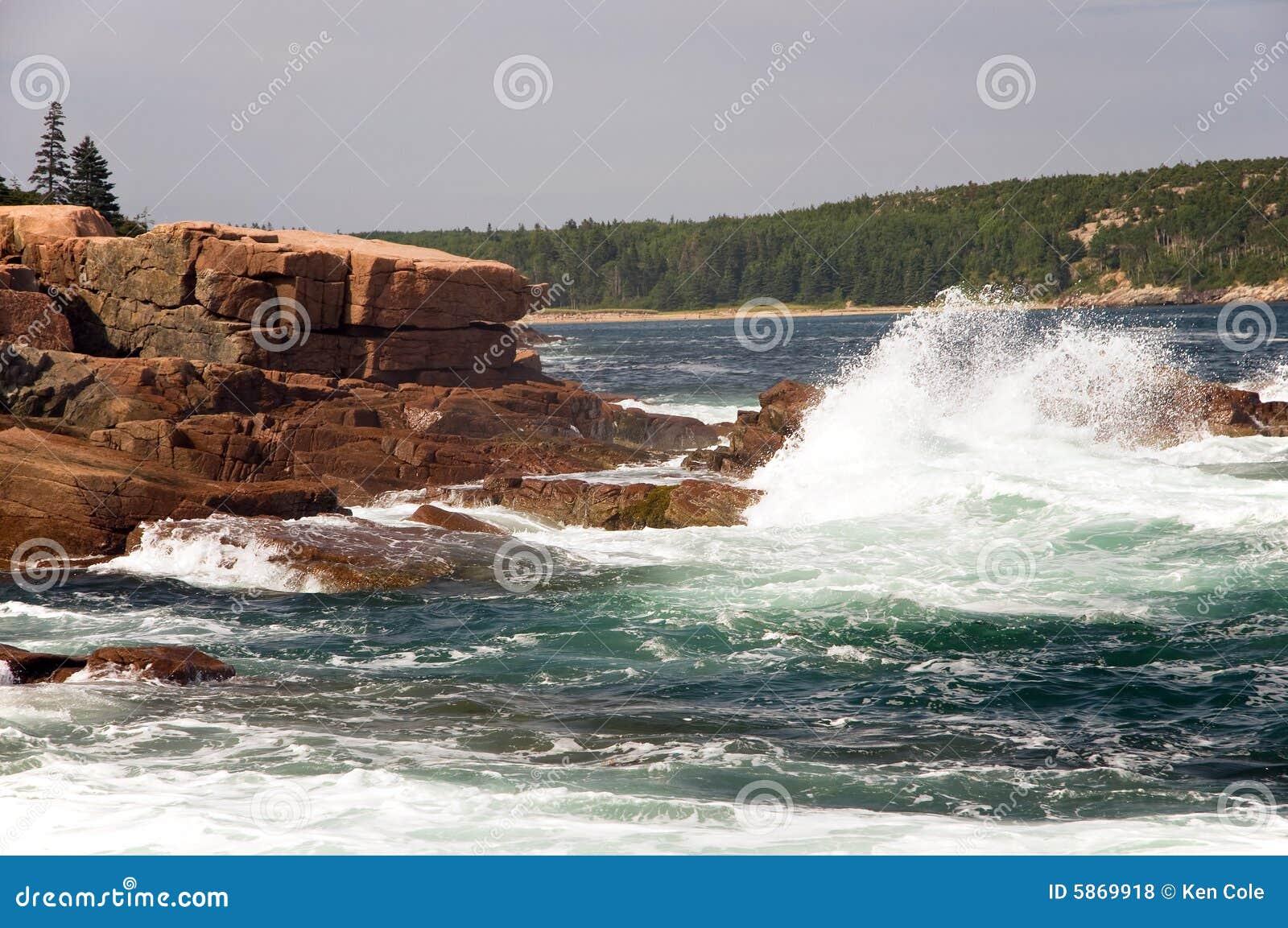 Waves on Maine coast
