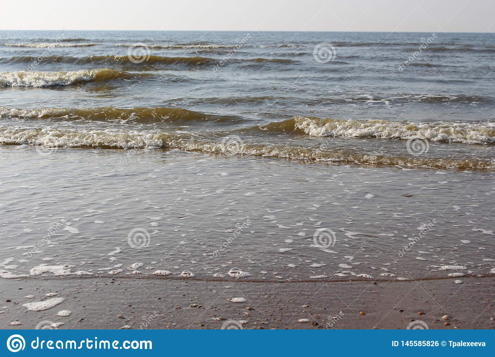 Waves of the North Sea at sunset. Wet sand and clear evening sky. Beach of Sea, Ostend, Belgium