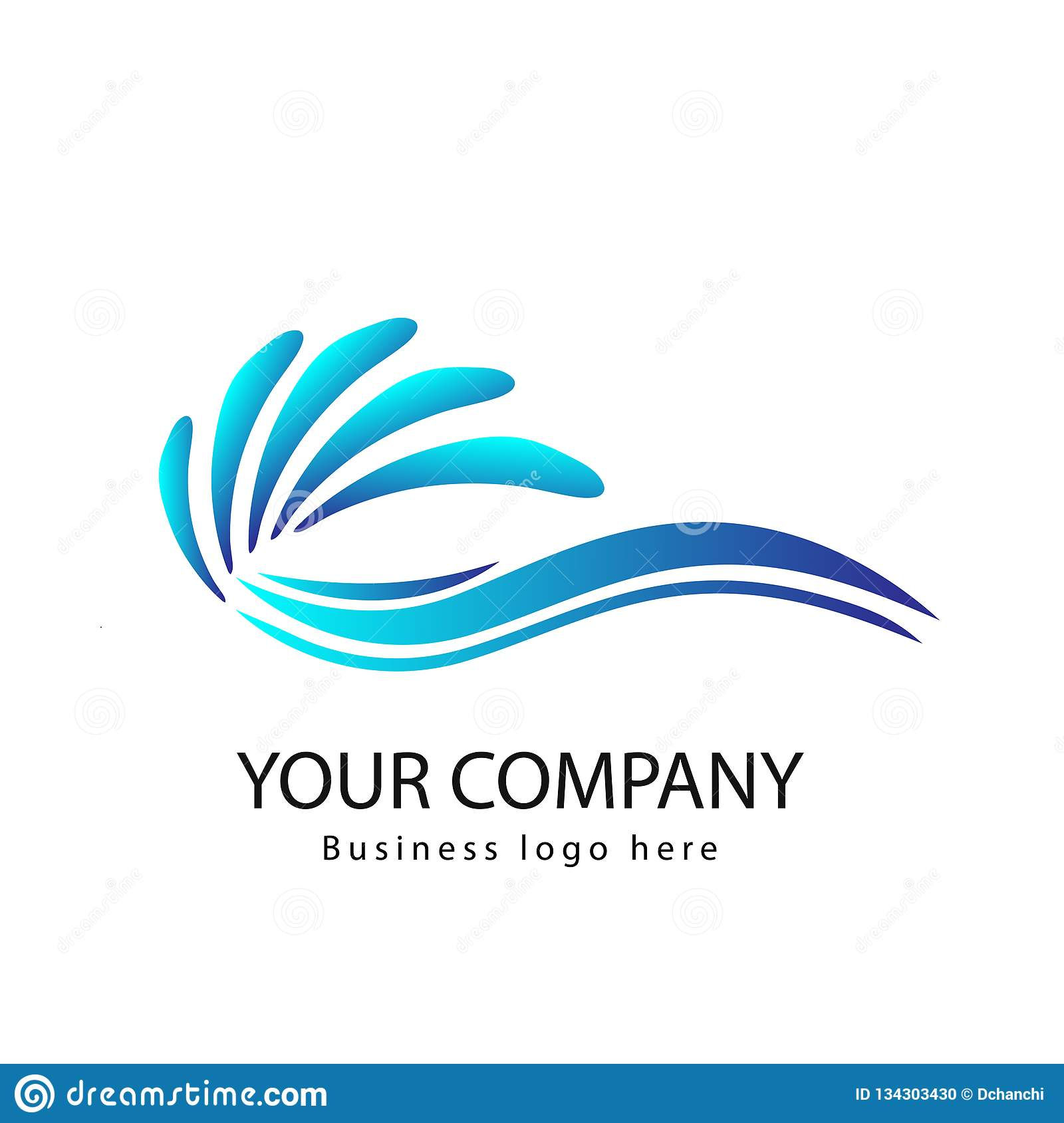 Waves of sea or ocean waves, blue water, splash and gale, vector. Curve, logo