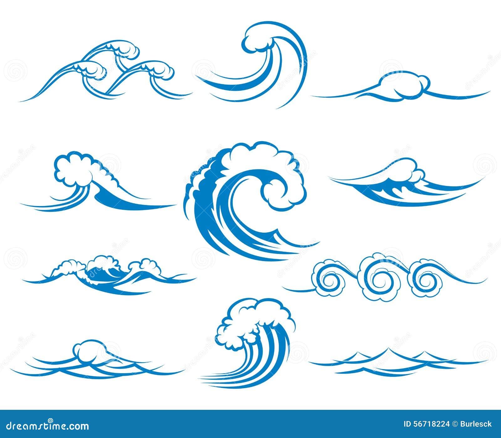 Waves Of Sea Or Ocean Waves, Vector Illustration Stock ...