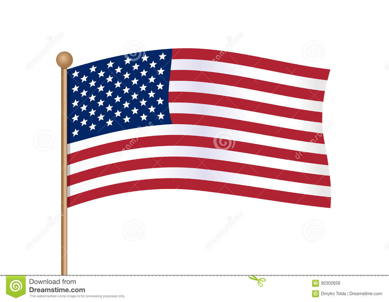 1bef7f1d80e7 Waving american flag on pole. National symbol of United States of America  USA with inclined gold stick. American flag isolated on white background.  Vector ...