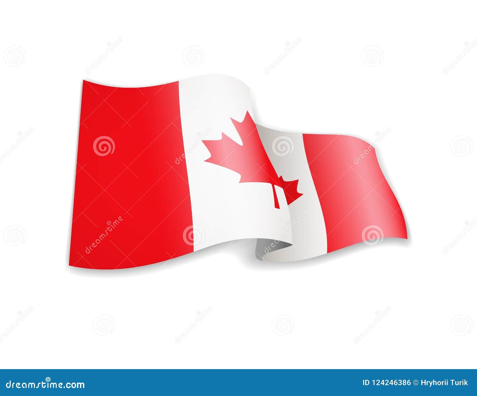 Waving Canada flag on white background.