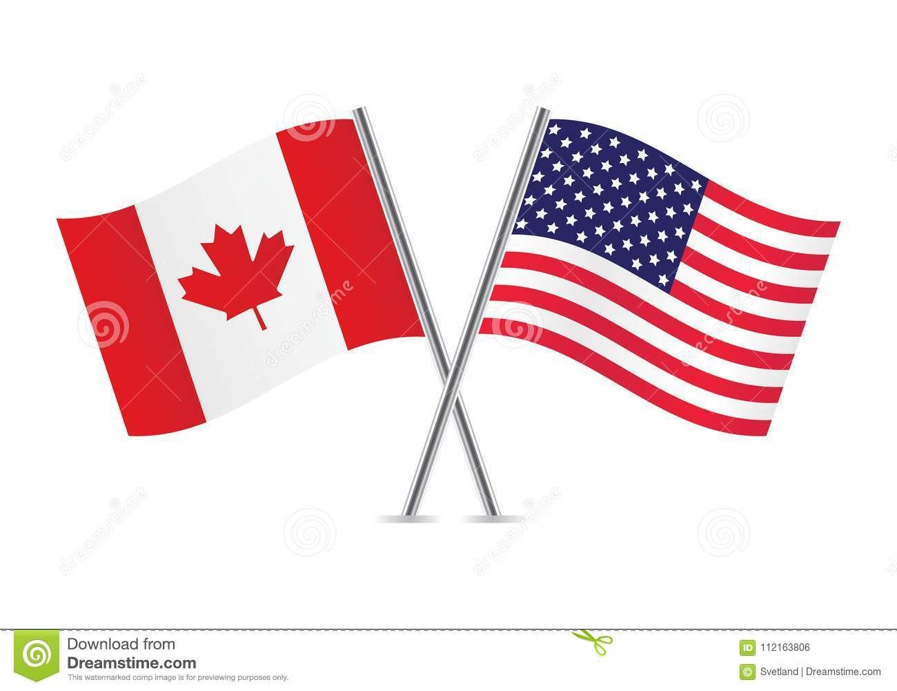 56d87c463bd Waving Canadian And American Flags. Vector Illustration. Stock ...