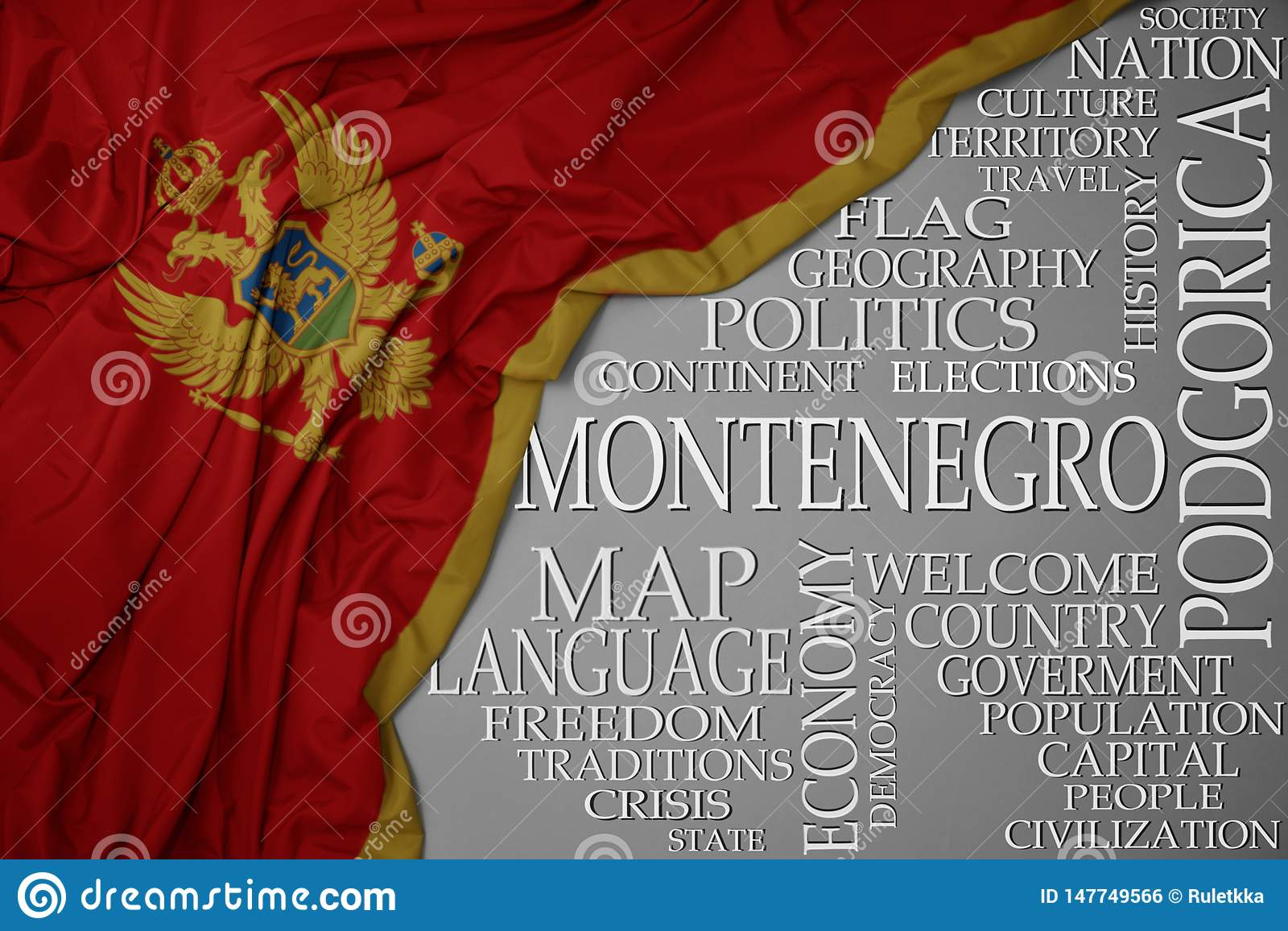 Waving colorful national flag of montenegro on a gray background with important words about country