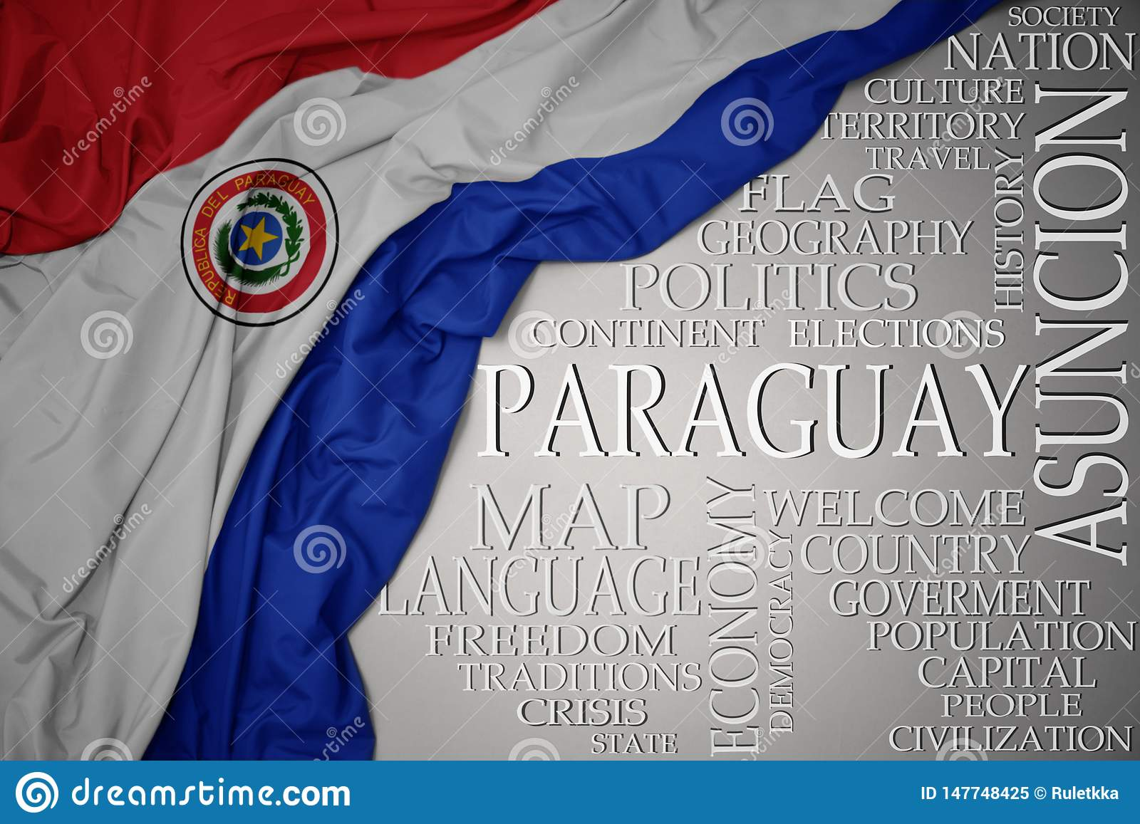 Waving colorful national flag of paraguay on a gray background with important words about country