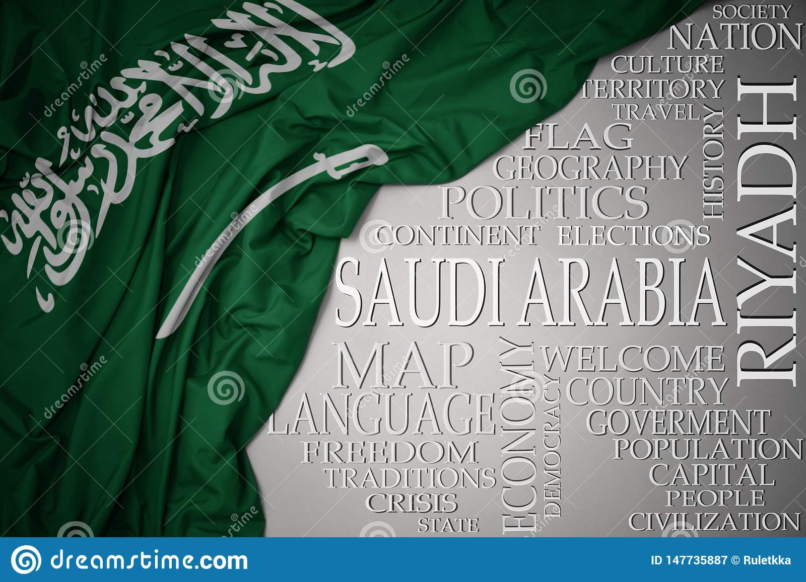 Waving colorful national flag of saudi arabia on a gray background with important words about country