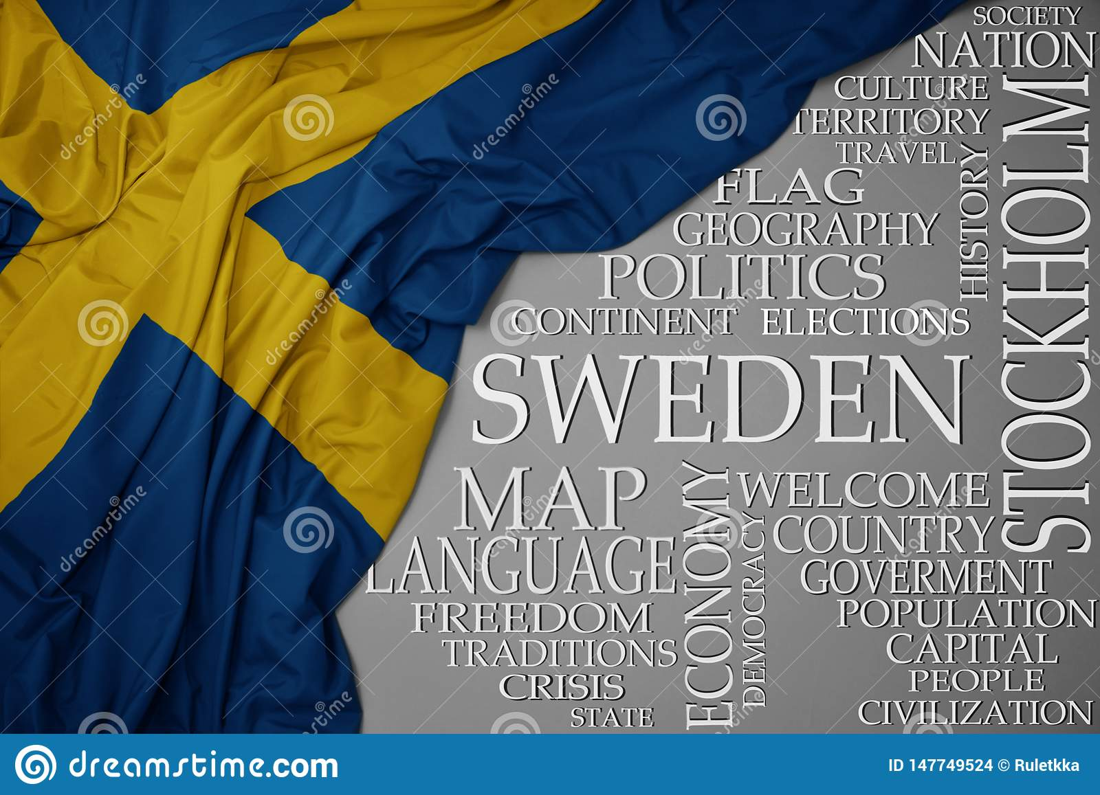Waving colorful national flag of sweden on a gray background with important words about country