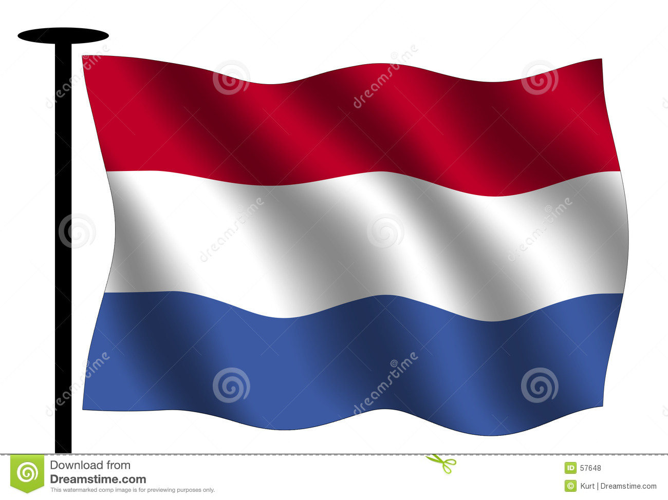 Waving Dutch Flag Royalty Free Stock Photos - Image: 57648