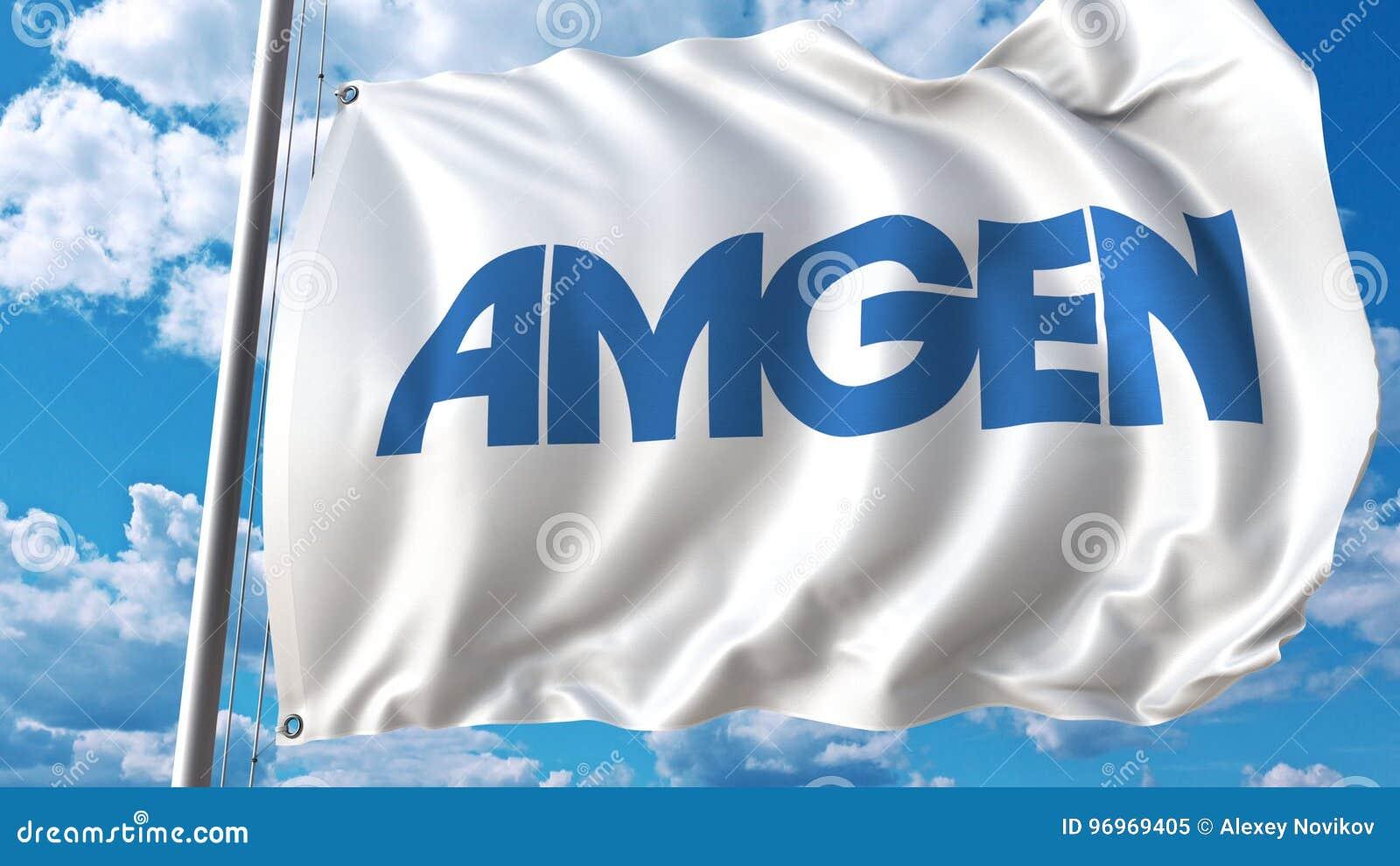 Waving Flag With Amgen Logo  Editoial 3D Rendering Editorial