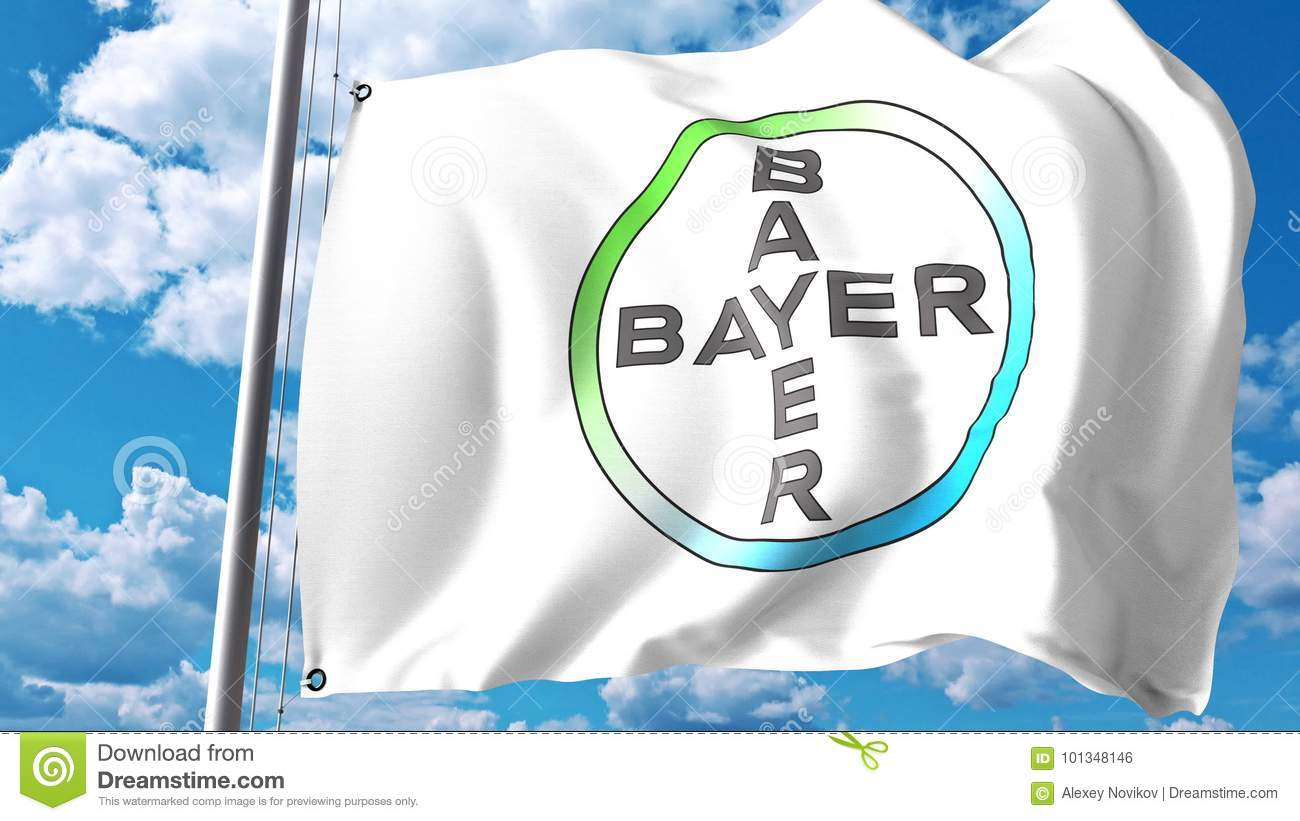 Waving Flag With Bayer Ag Logo Against Clouds And Sky Editorial 3d