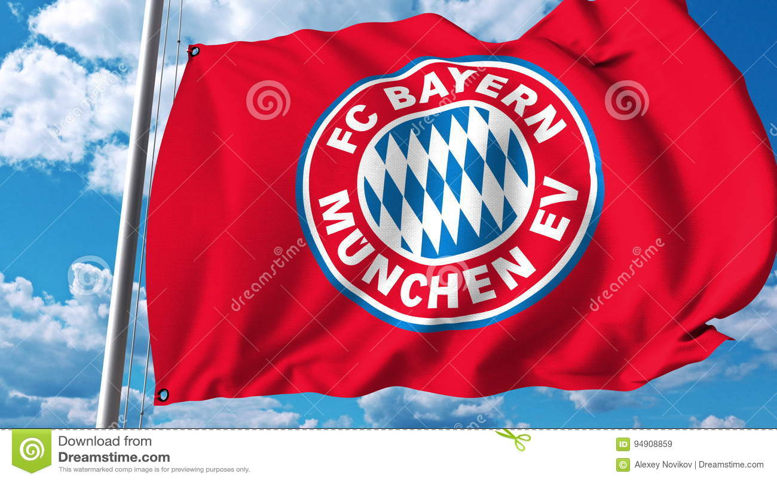 6a05112a17d Waving flag with Bayern Munchen football team logo. Editorial 3D. More  similar stock illustrations