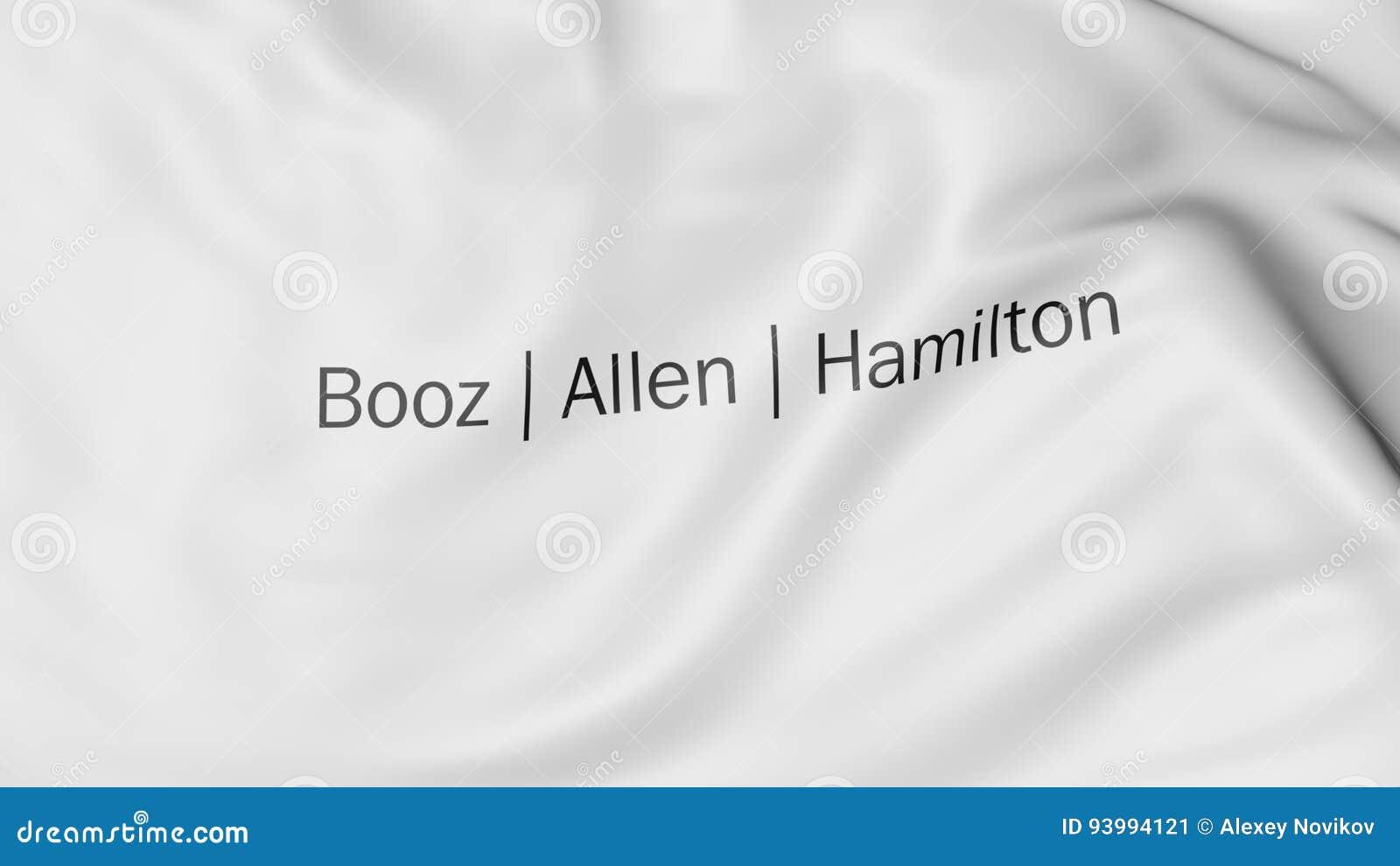 Waving Flag With Booz Allen Hamilton Logo Editorial 3d Rendering