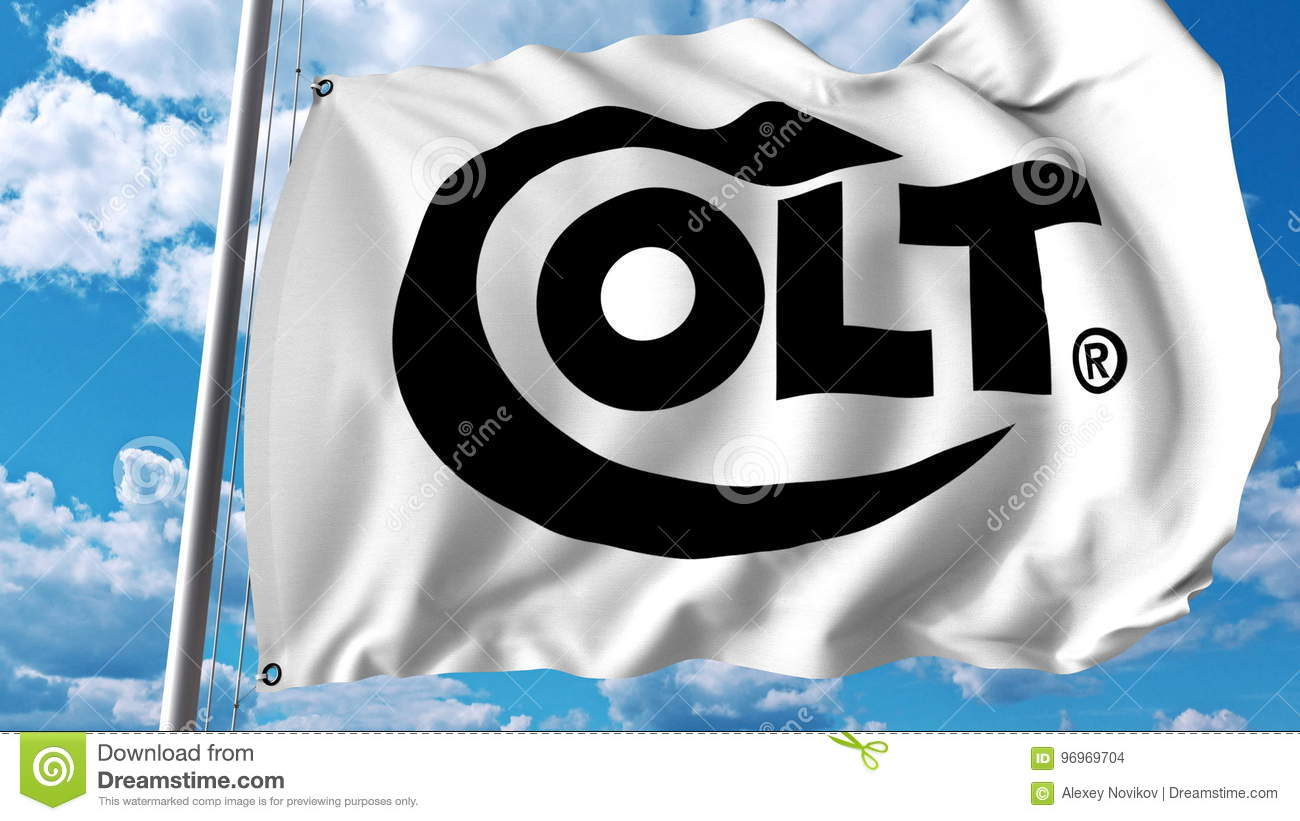Waving Flag With Colts Manufacturing Company Logo. Editoial 3D ...