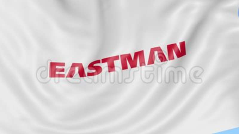 Waving flag with Eastman Chemical Company logo  Seamles loop 4K editorial  animation