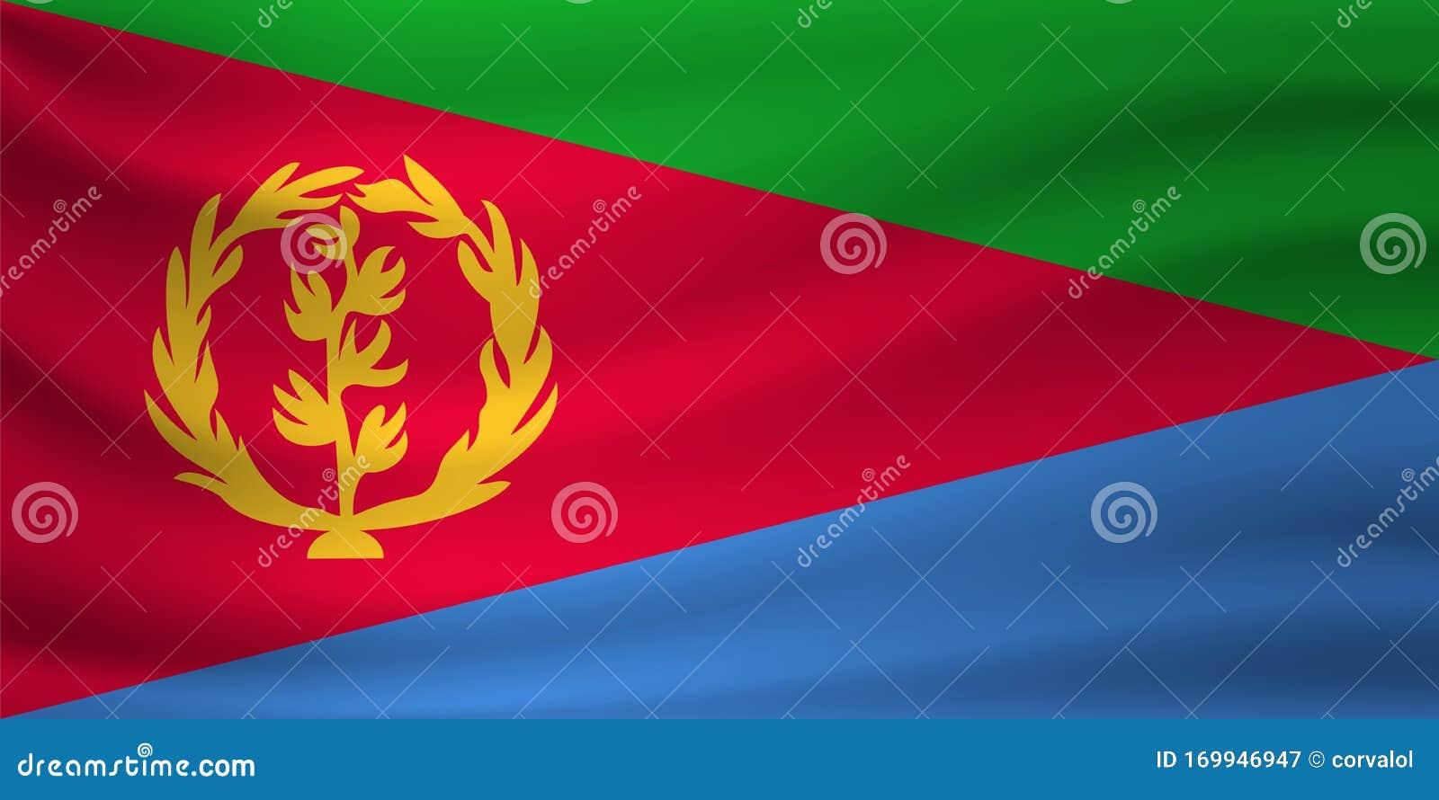 Download Waving Flag Of Eritrea. Vector Illustration Stock Vector - Illustration of continent, design ...