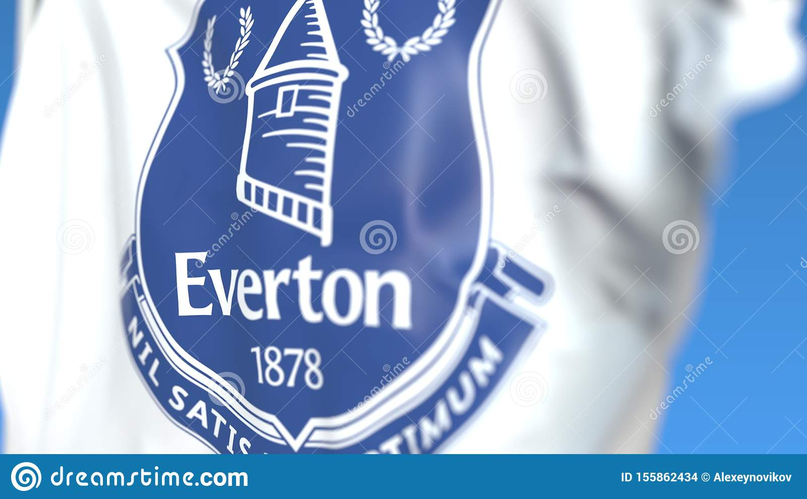 Flying Flag With Everton Fc Football Club Logo Close Up Editorial 3d Rendering Editorial Stock Image Illustration Of Play Support 155862434
