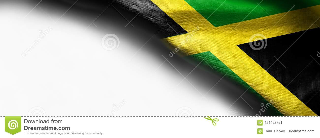 Waving Flag Of Jamaica, Central America On White Background Stock