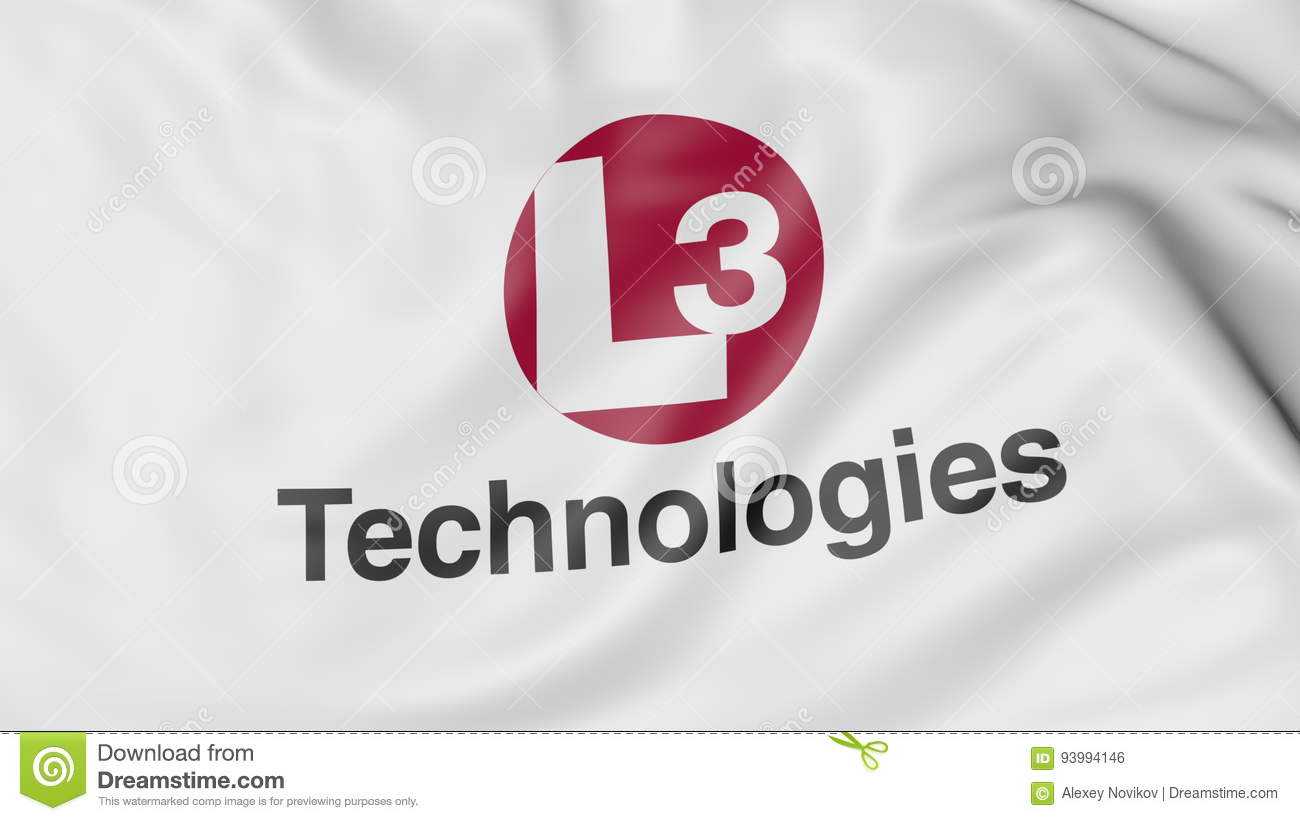 Waving Flag With L3 Technologies Logo  Editorial 3D Rendering