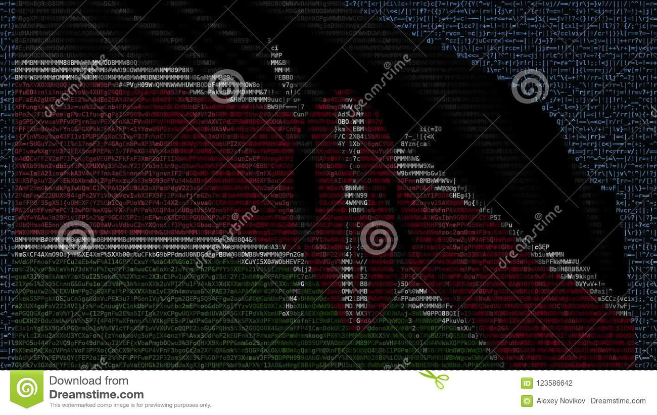 Waving Flag Of Kenya Made Of Text Symbols On A Computer Screen