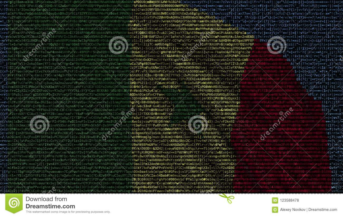 Waving Flag Of Senegal Made Of Text Symbols On A Computer Screen