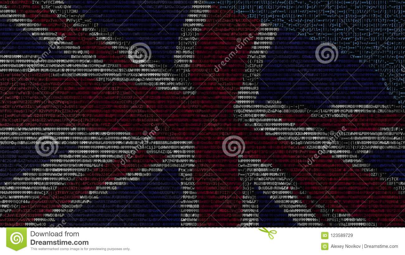 Waving Flag Of The United Kingdom Made Of Text Symbols On A Computer
