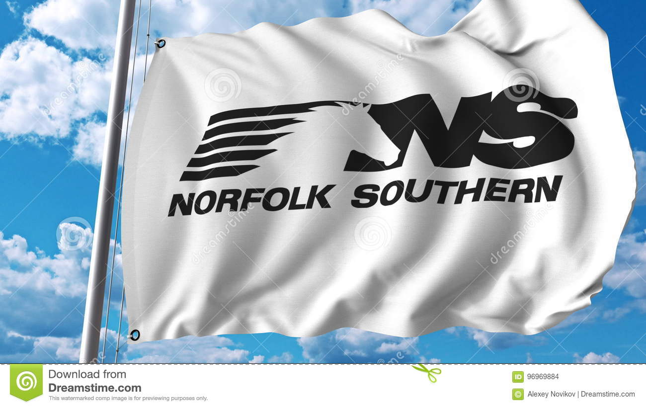 Waving Flag With Norfolk Southern Railway Logo Editoial 3d